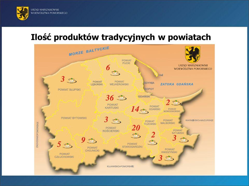 Ilość produktów tradycyjnych w powiatach