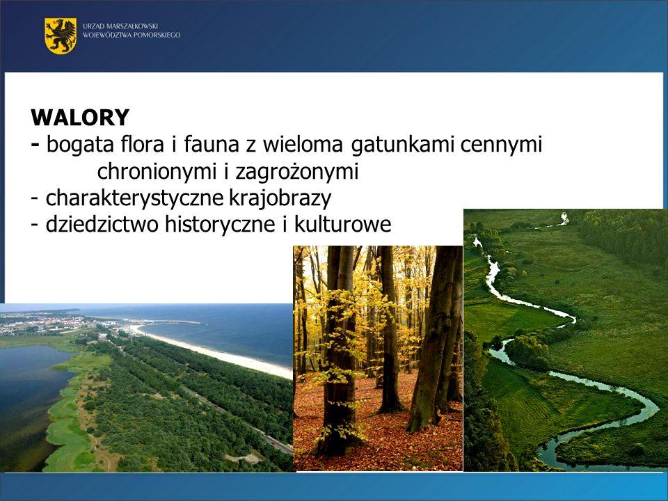 WALORY - bogata flora i fauna z wieloma gatunkami cennymi chronionymi i zagrożonymi - charakterystyczne krajobrazy - dziedzictwo historyczne i kulturo