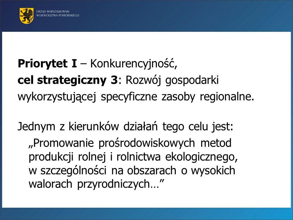 Priorytet I – Konkurencyjność, cel strategiczny 3: Rozwój gospodarki wykorzystującej specyficzne zasoby regionalne. Jednym z kierunków działań tego ce