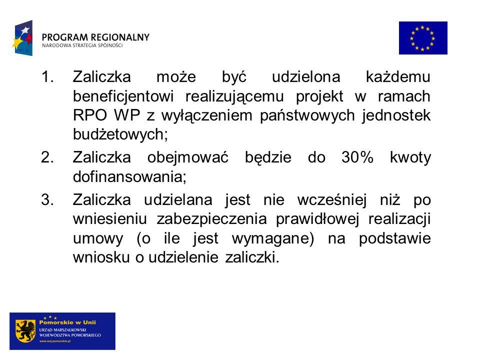 1.Zaliczka może być udzielona każdemu beneficjentowi realizującemu projekt w ramach RPO WP z wyłączeniem państwowych jednostek budżetowych; 2.Zaliczka