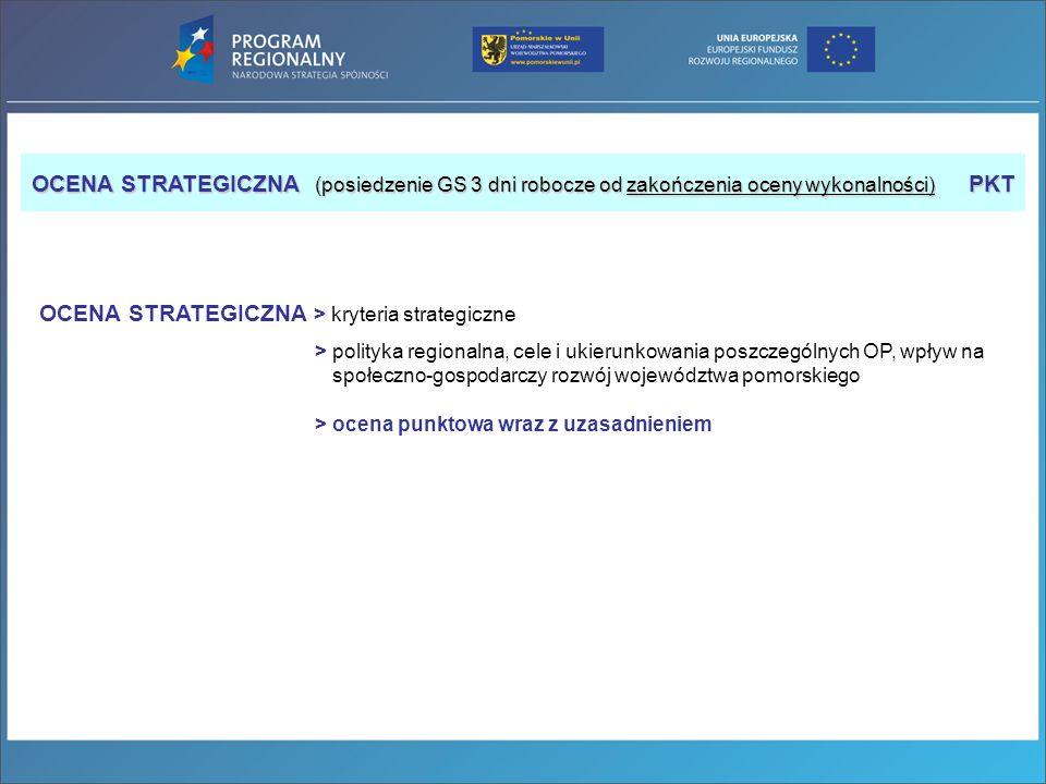 OCENA STRATEGICZNA (posiedzenie GS 3 dni robocze od zakończenia oceny wykonalności) PKT OCENA STRATEGICZNA > kryteria strategiczne > polityka regional