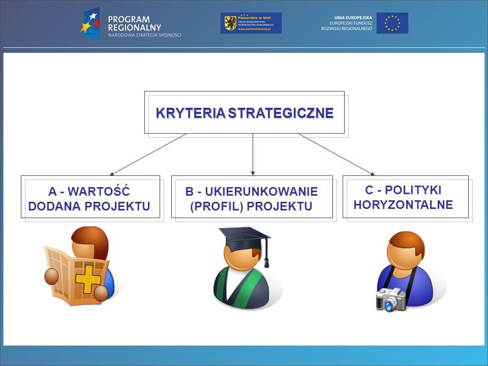 KRYTERIA STRATEGICZNE A - WARTOŚĆ DODANA PROJEKTU B - UKIERUNKOWANIE (PROFIL) PROJEKTU C - POLITYKI HORYZONTALNE
