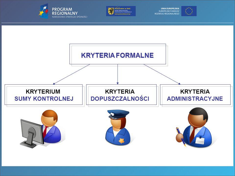 KRYTERIA FORMALNE: suma kontrolna Suma kontrolna służy potwierdzeniu jednakowej treści zamieszczonych informacji w wersji elektronicznej i widocznych na wydruku oraz zachowaniu spójności danych w Lokalnym Systemie Informatycznym (LSI) i Krajowym Systemie Informatycznym (KSI).