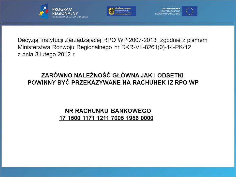 Decyzją Instytucji Zarządzającej RPO WP 2007-2013, zgodnie z pismem Ministerstwa Rozwoju Regionalnego nr DKR-VII-8261(0)-14-PK/12 z dnia 8 lutego 2012