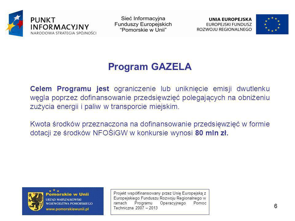 Projekt współfinansowany przez Unię Europejską z Europejskiego Funduszu Rozwoju Regionalnego w ramach Programu Operacyjnego Pomoc Techniczna 2007 – 2013 7 Dofinansowanie w I konkursie udzielane będzie w formie dotacji do 100% kosztów kwalifikowanych przedsięwzięcia.