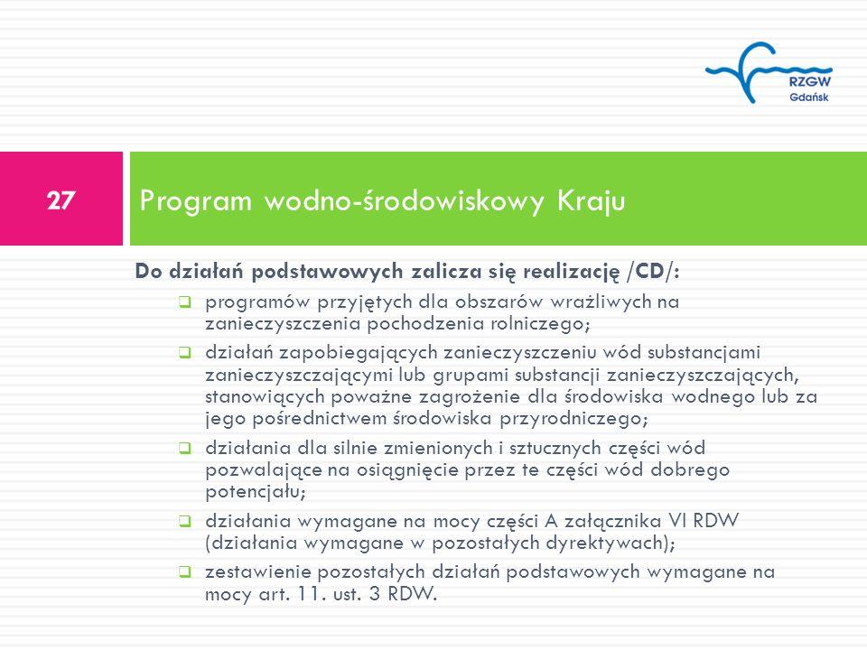 Do działań podstawowych zalicza się realizację /CD/: programów przyjętych dla obszarów wrażliwych na zanieczyszczenia pochodzenia rolniczego; działań