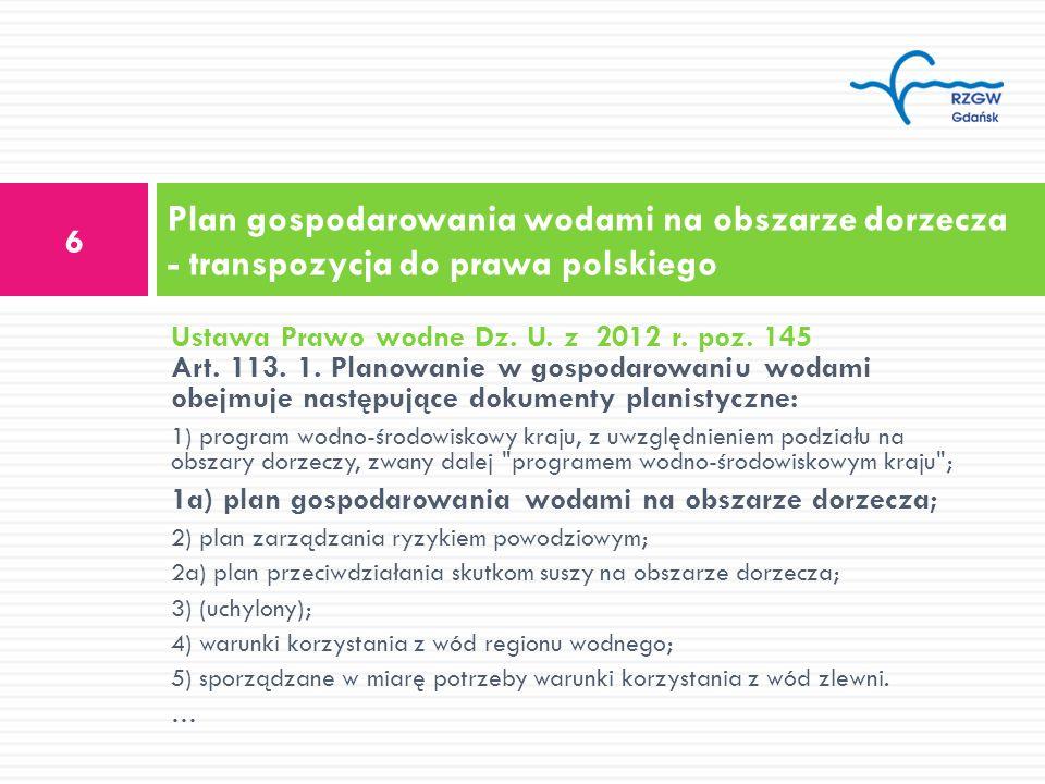Ustawa Prawo wodne Dz. U. z 2012 r. poz. 145 Art. 113. 1. Planowanie w gospodarowaniu wodami obejmuje następujące dokumenty planistyczne: 1) program w