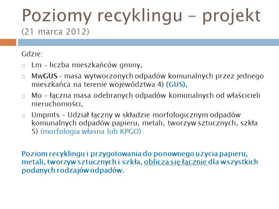 Poziomy recyklingu – projekt (21 marca 2012) Gdzie: Lm – liczba mieszkańców gminy, MwGUS – masa wytworzonych odpadów komunalnych przez jednego mieszkańca na terenie województwa 4) (GUS), Mo – łączna masa odebranych odpadów komunalnych od właścicieli nieruchomości, Umpmts – Udział łączny w składzie morfologicznym odpadów komunalnych odpadów papieru, metali, tworzyw sztucznych, szkła 5) (morfologia własna lub KPGO) Poziom recyklingu i przygotowania do ponownego użycia papieru, metali, tworzyw sztucznych i szkła, oblicza się łącznie dla wszystkich podanych rodzajów odpadów.