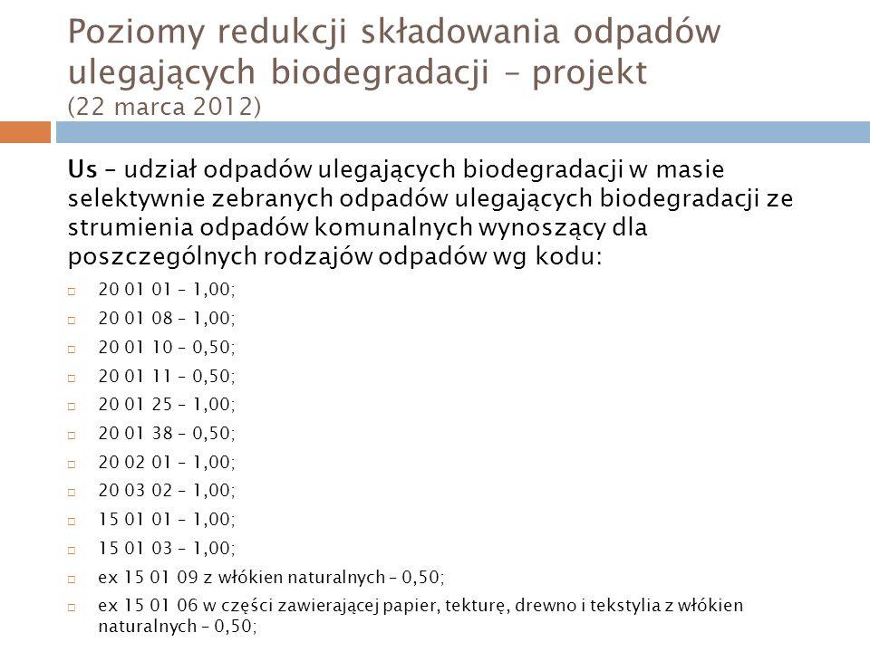 Poziomy redukcji składowania odpadów ulegających biodegradacji – projekt (22 marca 2012) Us – udział odpadów ulegających biodegradacji w masie selektywnie zebranych odpadów ulegających biodegradacji ze strumienia odpadów komunalnych wynoszący dla poszczególnych rodzajów odpadów wg kodu: 20 01 01 – 1,00; 20 01 08 – 1,00; 20 01 10 – 0,50; 20 01 11 – 0,50; 20 01 25 – 1,00; 20 01 38 – 0,50; 20 02 01 – 1,00; 20 03 02 – 1,00; 15 01 01 – 1,00; 15 01 03 – 1,00; ex 15 01 09 z włókien naturalnych – 0,50; ex 15 01 06 w części zawierającej papier, tekturę, drewno i tekstylia z włókien naturalnych – 0,50;