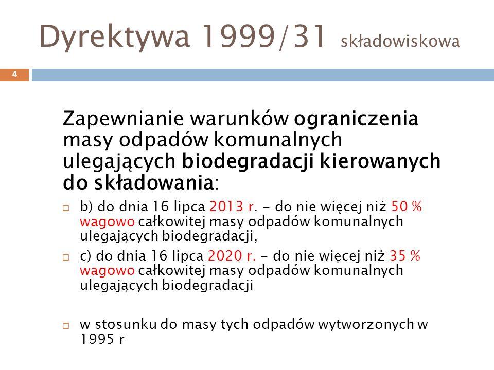 Dyrektywa 1999/31 składowiskowa Zapewnianie warunków ograniczenia masy odpadów komunalnych ulegających biodegradacji kierowanych do składowania: b) do