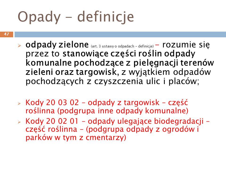 Opady - definicje odpady zielone (art.