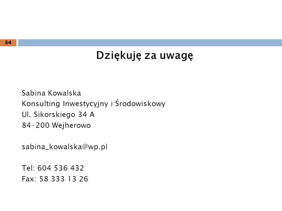 Dziękuję za uwagę Sabina Kowalska Konsulting Inwestycyjny i Środowiskowy Ul. Sikorskiego 34 A 84-200 Wejherowo sabina_kowalska@wp.pl Tel: 604 536 432