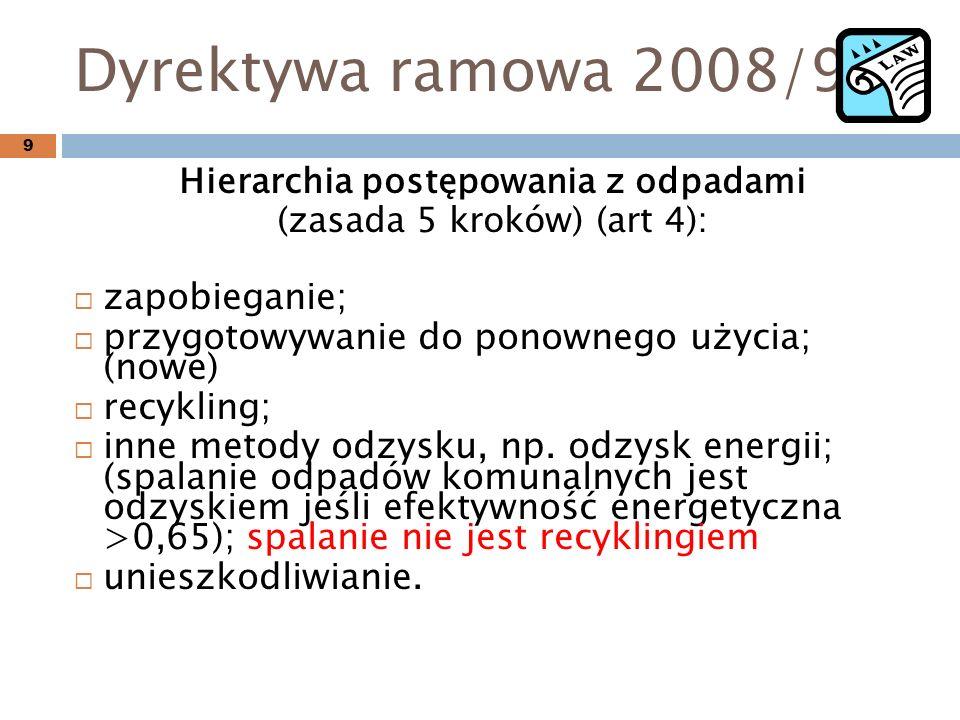 Dyrektywa ramowa 2008/98 Hierarchia postępowania z odpadami (zasada 5 kroków) (art 4): zapobieganie; przygotowywanie do ponownego użycia; (nowe) recykling; inne metody odzysku, np.