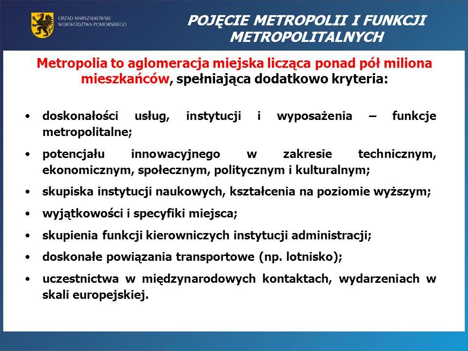 POJĘCIE METROPOLII I FUNKCJI METROPOLITALNYCH Metropolia to aglomeracja miejska licząca ponad pół miliona mieszkańców, spełniająca dodatkowo kryteria: