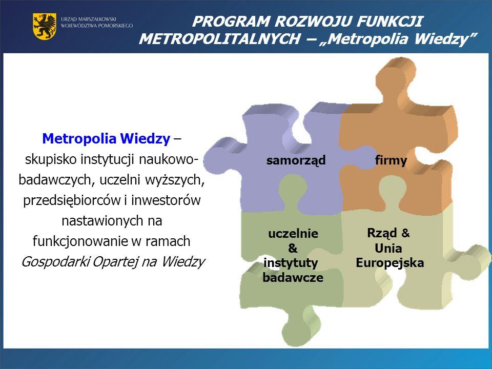 Metropolia Wiedzy – skupisko instytucji naukowo- badawczych, uczelni wyższych, przedsiębiorców i inwestorów nastawionych na funkcjonowanie w ramach Go