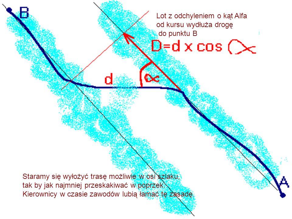 Staramy się wyłożyć trasę możliwie w osi szlaku, tak by jak najmniej przeskakiwać w poprzek. Kierownicy w czasie zawodów lubią łamać tę zasadę. Lot z