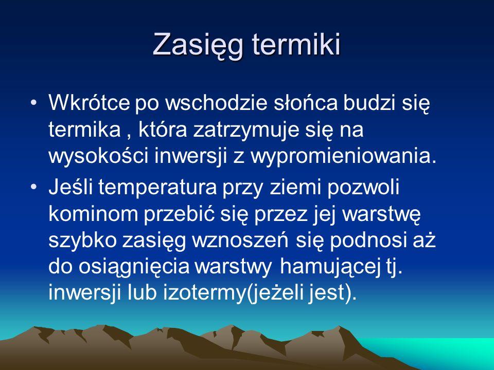 Zasięg termiki Wkrótce po wschodzie słońca budzi się termika, która zatrzymuje się na wysokości inwersji z wypromieniowania. Jeśli temperatura przy zi