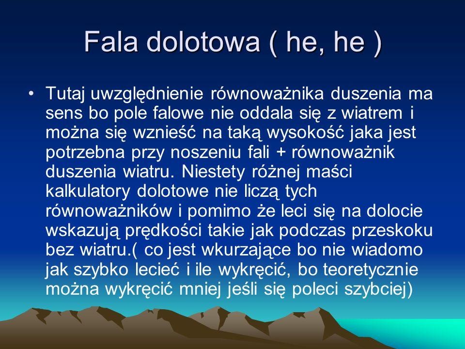 Fala dolotowa ( he, he ) Tutaj uwzględnienie równoważnika duszenia ma sens bo pole falowe nie oddala się z wiatrem i można się wznieść na taką wysokoś