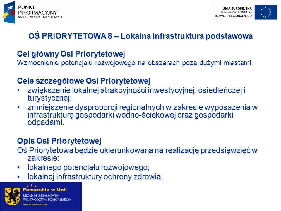 OŚ PRIORYTETOWA 8 – Lokalna infrastruktura podstawowa Cel główny Osi Priorytetowej Wzmocnienie potencjału rozwojowego na obszarach poza dużymi miastam