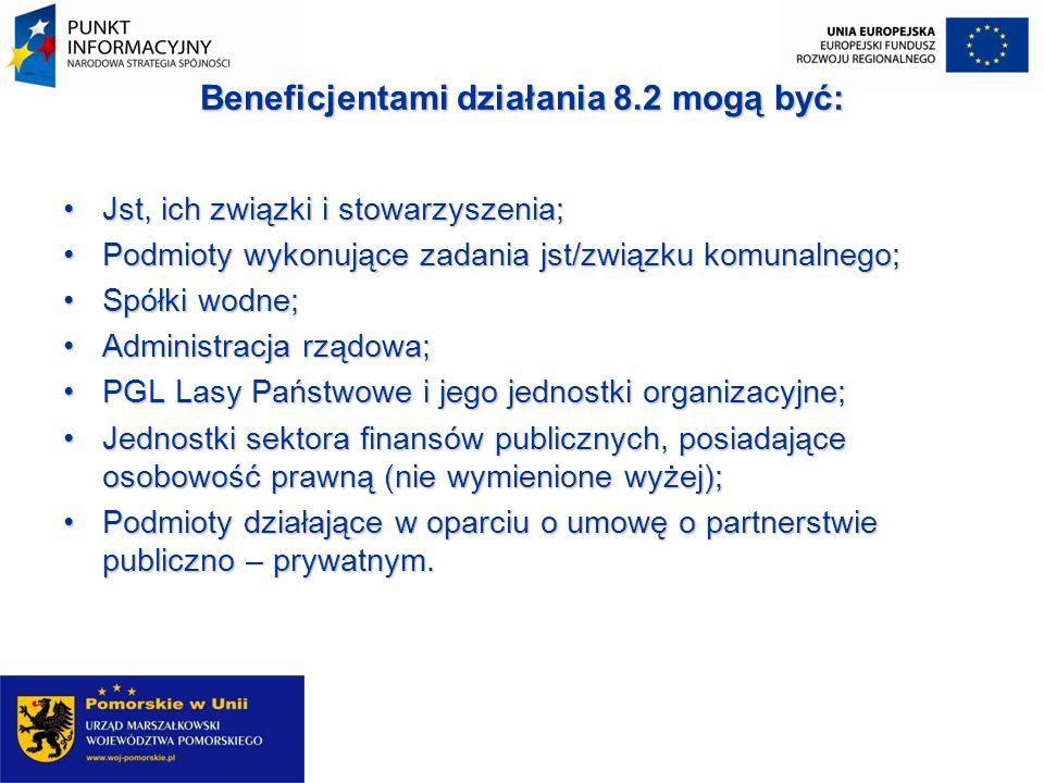 Beneficjentami działania 8.2 mogą być: Jst, ich związki i stowarzyszenia;Jst, ich związki i stowarzyszenia; Podmioty wykonujące zadania jst/związku ko