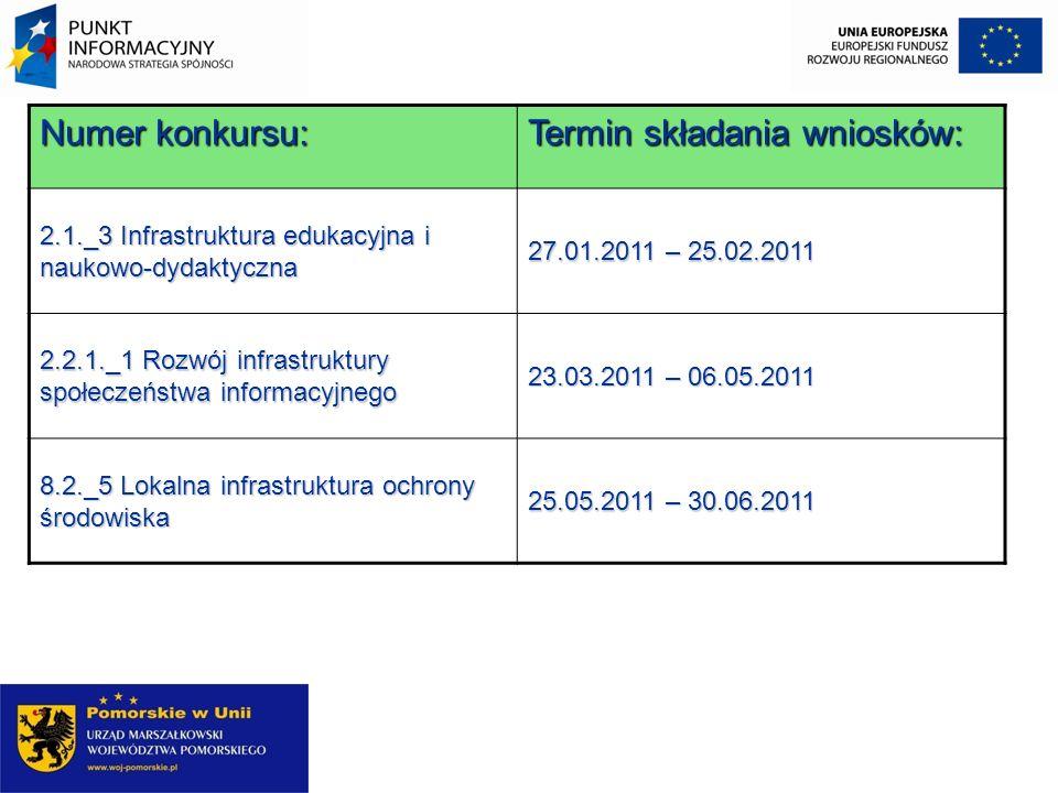 Numer konkursu: Termin składania wniosków: 2.1._3 Infrastruktura edukacyjna i naukowo-dydaktyczna 27.01.2011 – 25.02.2011 2.2.1._1 Rozwój infrastruktu