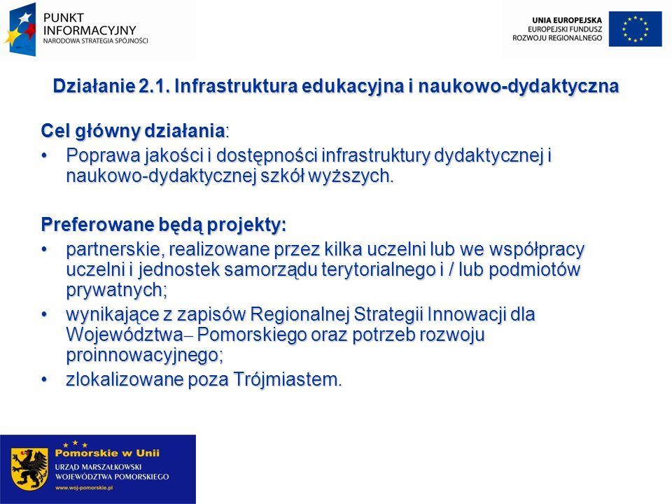 Beneficjentami działania 2.1 mogą być: jst, ich związki i stowarzyszenia; szkoły wyższe; jednostki naukowe, w tym jednostki organizacyjne Polskiej Akademii Nauk; jednostki organizacyjne, utworzone przez jednostki wymienione w pkt 1, 2 i 3, prowadzące działalność o charakterze edukacyjnym na poziomie wyższym; organizacje pozarządowe prowadzące statutową działalność w zakresie świadczenia usług dydaktycznych i naukowo-dydaktycznych na poziomie wyższym; kościoły i związki wyznaniowe oraz osoby prawne kościołów i związków wyznaniowych prowadzące działalność o charakterze edukacyjnym na poziomie wyższym; partnerzy społeczni i gospodarczy; jednostki sektora finansów publicznych posiadające osobowość prawną (nie wymienione wyżej); podmioty działające w oparciu o umowę o partnerstwie publiczno- prywatnym.