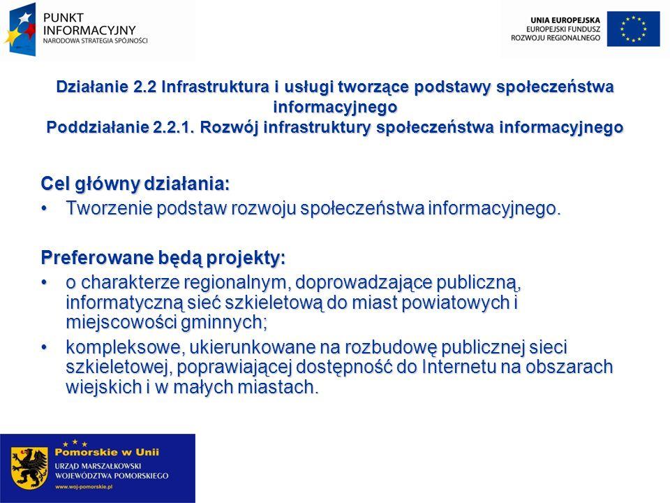 Działanie 2.2 Infrastruktura i usługi tworzące podstawy społeczeństwa informacyjnego Poddziałanie 2.2.1. Rozwój infrastruktury społeczeństwa informacy