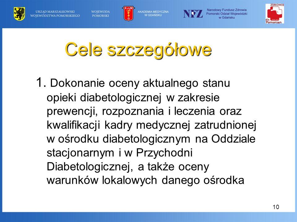 10 Cele szczegółowe 1. Dokonanie oceny aktualnego stanu opieki diabetologicznej w zakresie prewencji, rozpoznania i leczenia oraz kwalifikacji kadry m