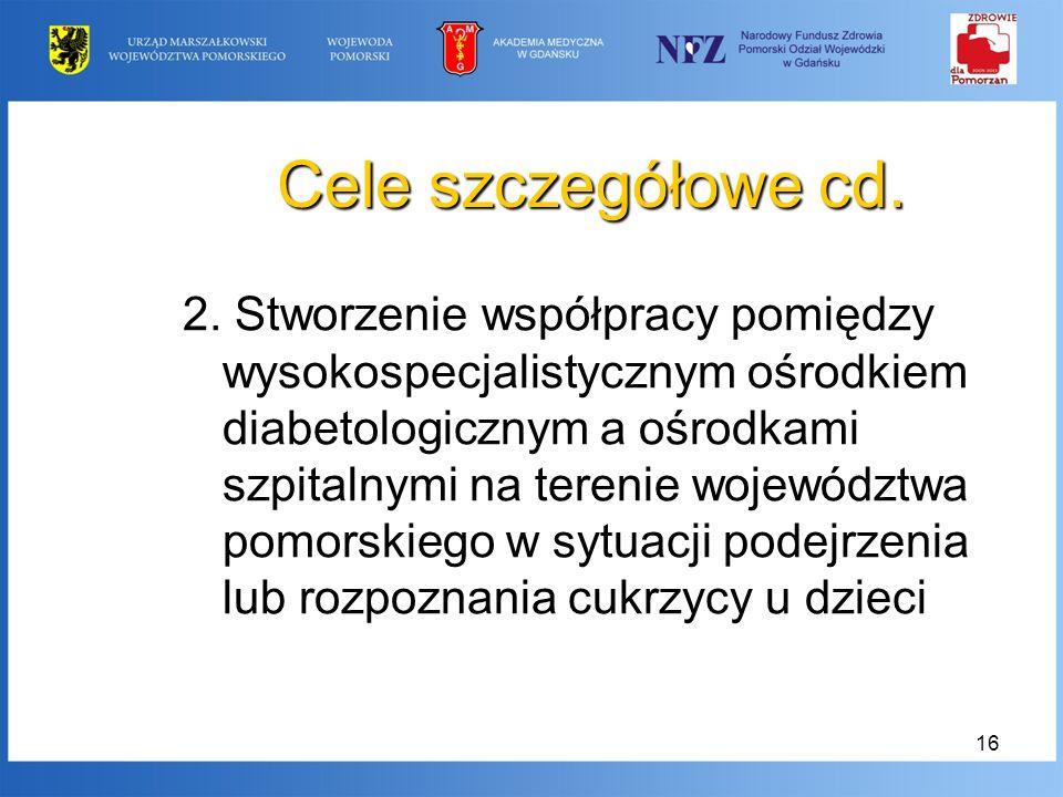 16 Cele szczegółowe cd. 2. Stworzenie współpracy pomiędzy wysokospecjalistycznym ośrodkiem diabetologicznym a ośrodkami szpitalnymi na terenie wojewód