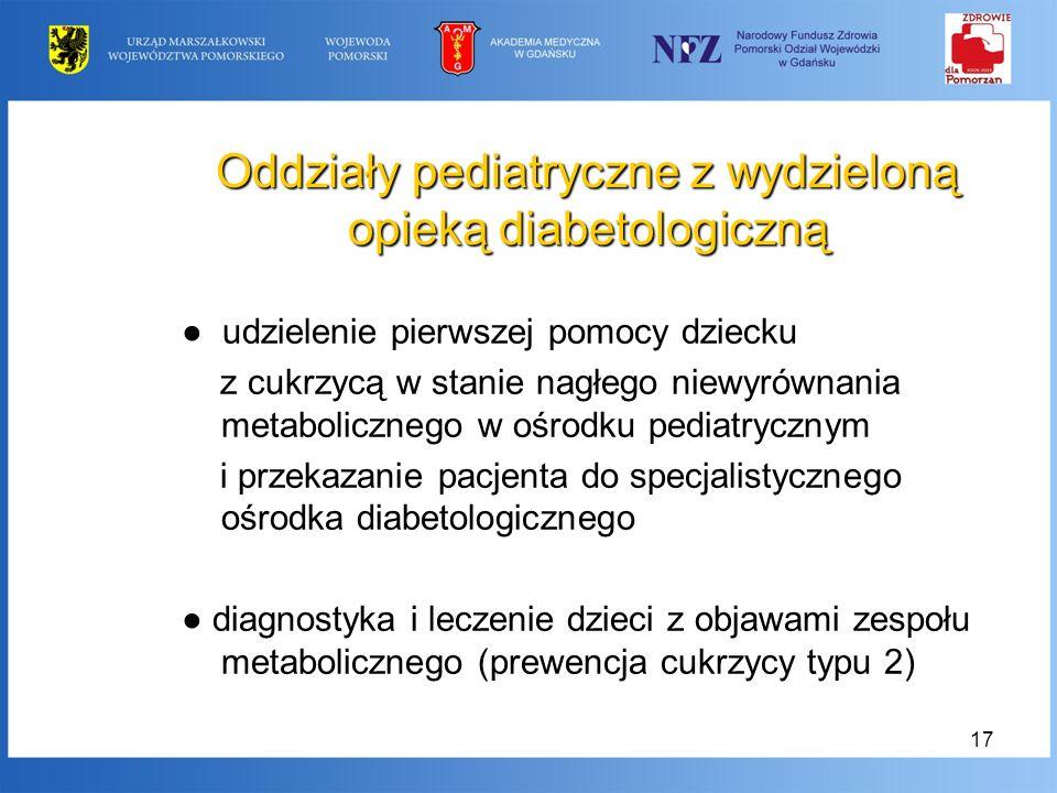 17 Oddziały pediatryczne z wydzieloną opieką diabetologiczną udzielenie pierwszej pomocy dziecku z cukrzycą w stanie nagłego niewyrównania metaboliczn