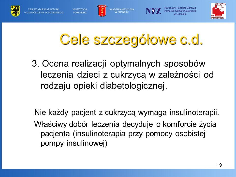 19 Cele szczegółowe c.d. 3. Ocena realizacji optymalnych sposobów leczenia dzieci z cukrzycą w zależności od rodzaju opieki diabetologicznej. Nie każd