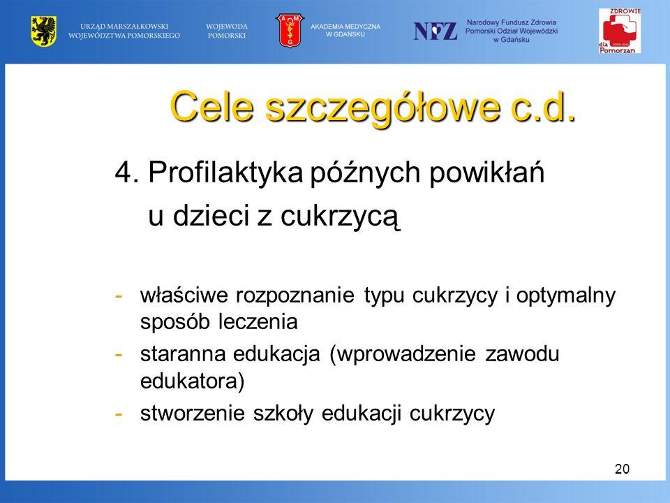20 Cele szczegółowe c.d. 4. Profilaktyka późnych powikłań u dzieci z cukrzycą -właściwe rozpoznanie typu cukrzycy i optymalny sposób leczenia -starann
