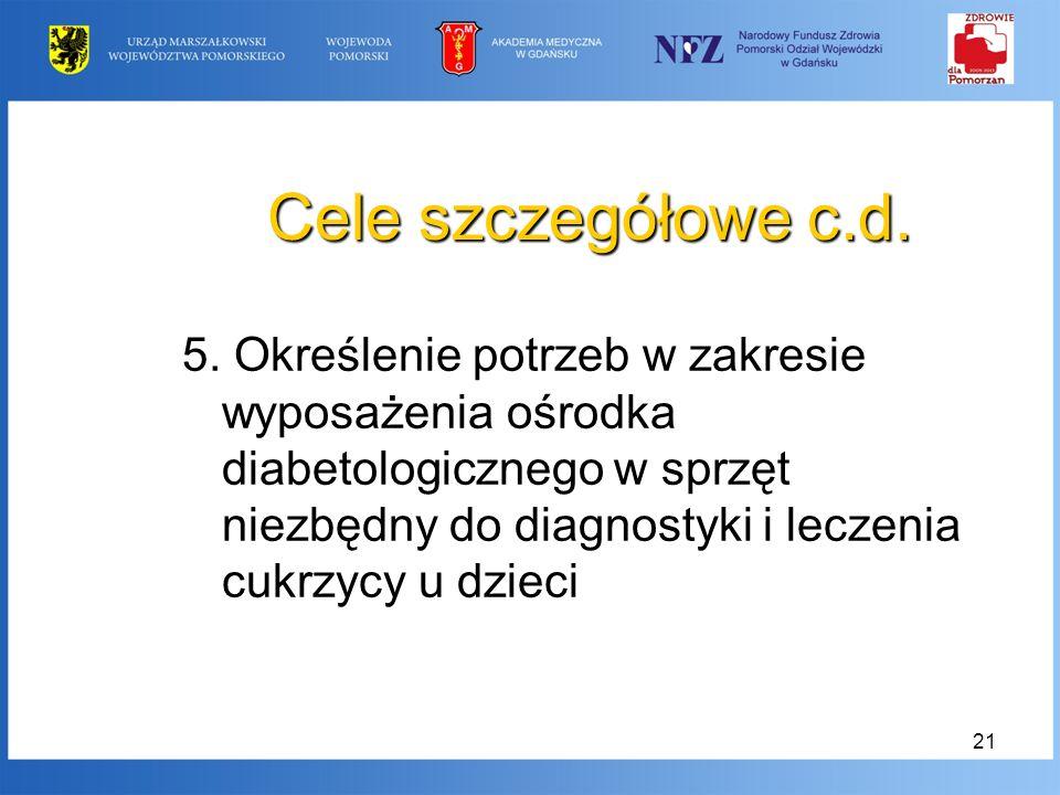 21 Cele szczegółowe c.d. 5. Określenie potrzeb w zakresie wyposażenia ośrodka diabetologicznego w sprzęt niezbędny do diagnostyki i leczenia cukrzycy