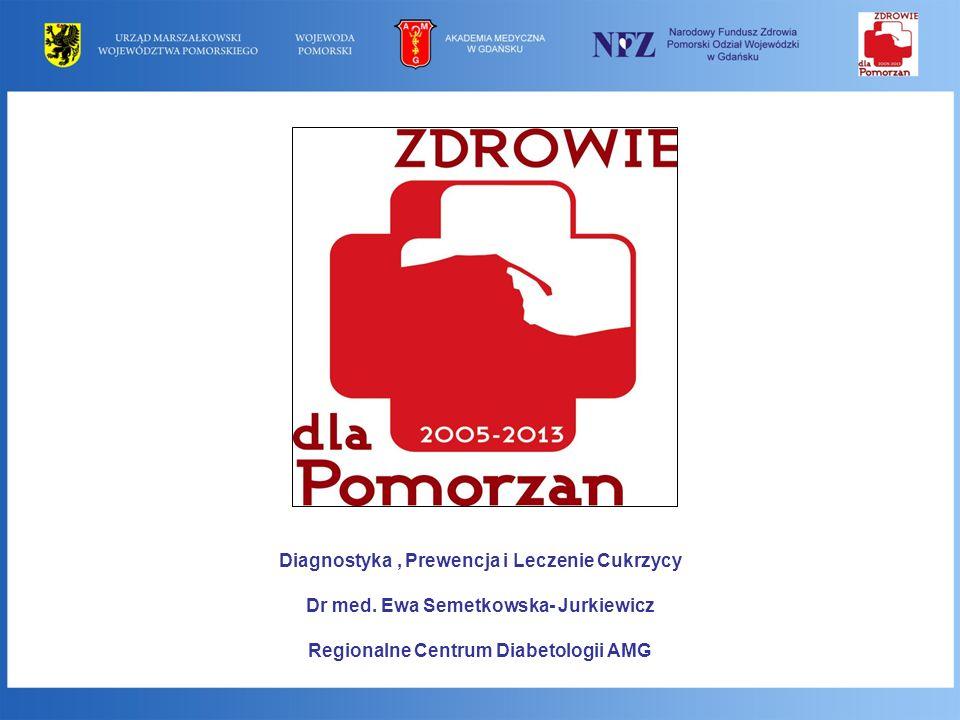 Diagnostyka, Prewencja i Leczenie Cukrzycy Dr med. Ewa Semetkowska- Jurkiewicz Regionalne Centrum Diabetologii AMG