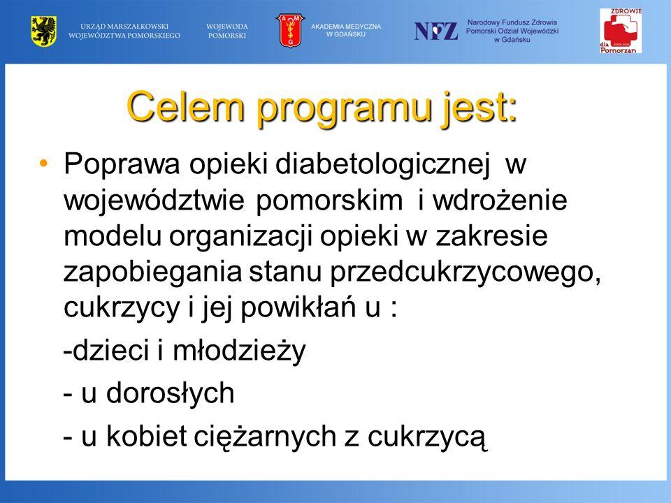Celem programu jest: Poprawa opieki diabetologicznej w województwie pomorskim i wdrożenie modelu organizacji opieki w zakresie zapobiegania stanu prze