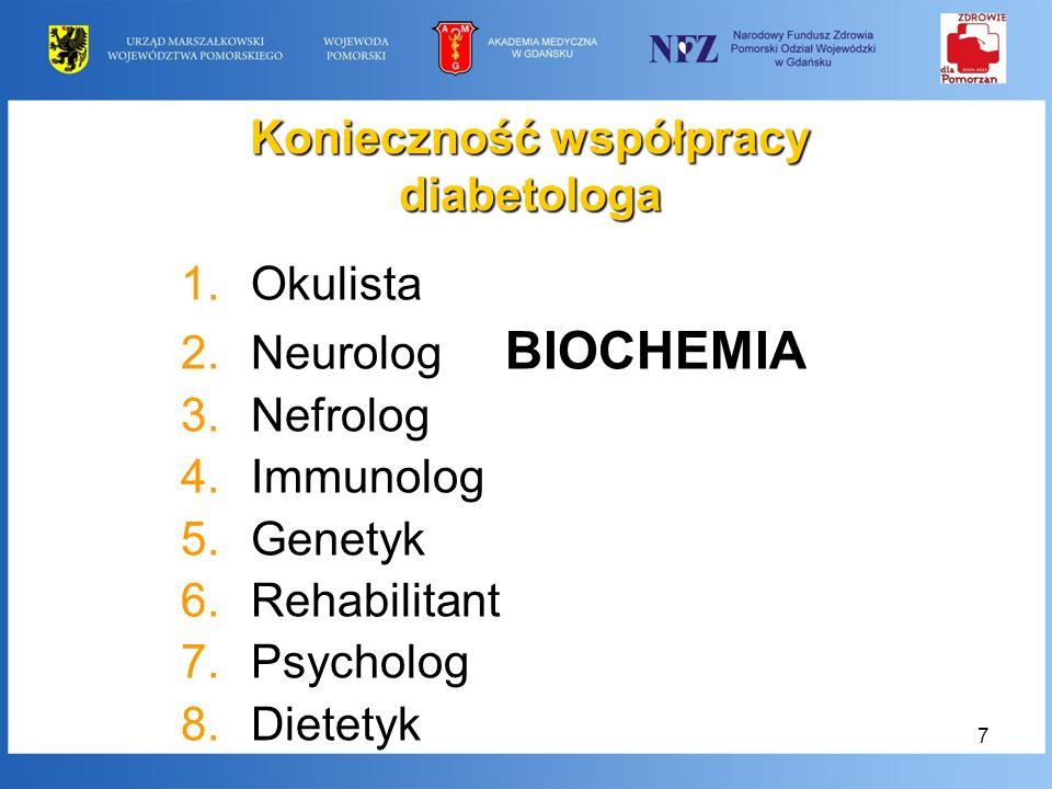 7 Konieczność współpracy diabetologa 1.Okulista 2.Neurolog BIOCHEMIA 3.Nefrolog 4.Immunolog 5.Genetyk 6.Rehabilitant 7.Psycholog 8.Dietetyk