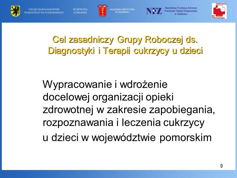 9 Cel zasadniczy Grupy Roboczej ds. Diagnostyki i Terapii cukrzycy u dzieci Wypracowanie i wdrożenie docelowej organizacji opieki zdrowotnej w zakresi