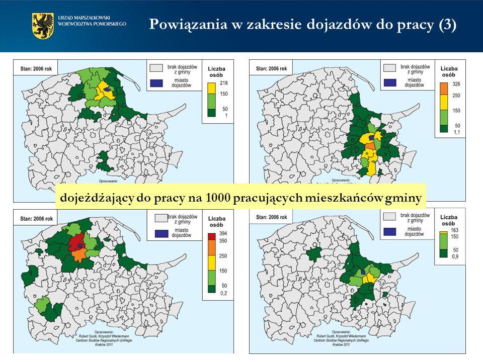 Powiązania w zakresie dojazdów do pracy (3) dojeżdżający do pracy na 1000 pracujących mieszkańców gminy