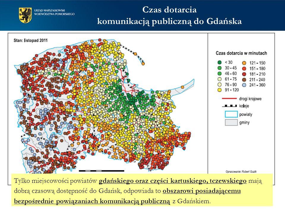 Czas dotarcia komunikacją publiczną do Gdańska Tylko miejscowości powiatów gdańskiego oraz części kartuskiego, tczewskiego mają dobrą czasową dostępność do Gdańsk, odpowiada to obszarowi posiadającemu bezpośrednie powiązaniach komunikacją publiczną z Gdańskiem.
