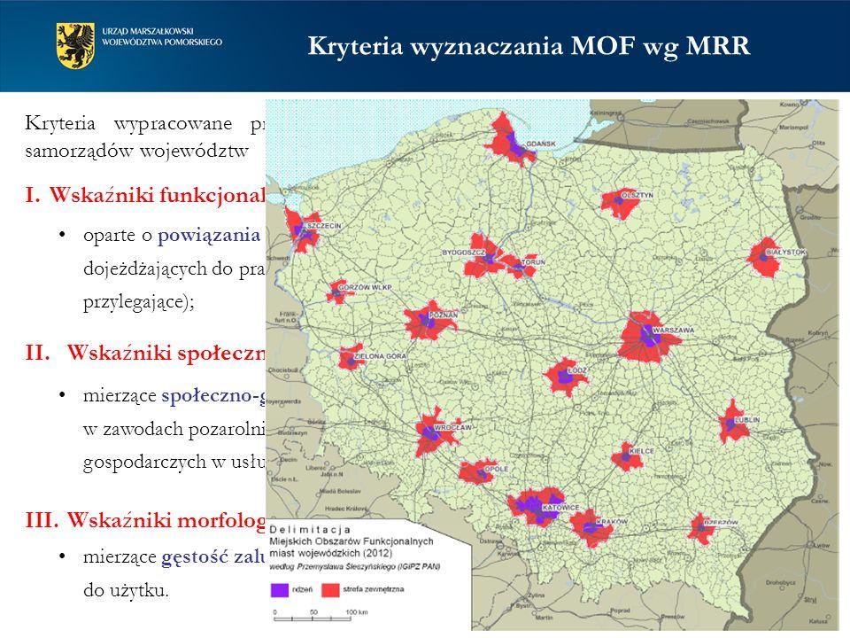 Kryteria wyznaczania MOF wg MRR I.Wskaźniki funkcjonalne: oparte o powiązania rdzenia MOF z obszarami przylegającymi (liczba osób dojeżdżających do pracy, liczba przemeldowań z rdzenia ośrodka na obszary przylegające); II.Wskaźniki społeczno-gospodarcze: mierzące społeczno-gospodarczy aspekt urbanizacji (udział pracujących w zawodach pozarolniczych, liczba podmiotów gospodarczych, udział podmiotów gospodarczych w usługach wyższego rzędu); III.Wskaźniki morfologiczne: mierzące gęstość zaludnienia oraz liczbę nowych mieszkań oddawanych do użytku.