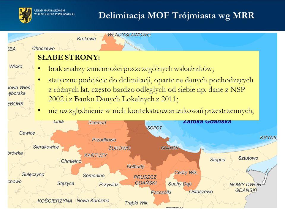 Delimitacja MOF Trójmiasta wg MRR SŁABE STRONY: brak analizy zmienności poszczególnych wskaźników; statyczne podejście do delimitacji, oparte na danyc
