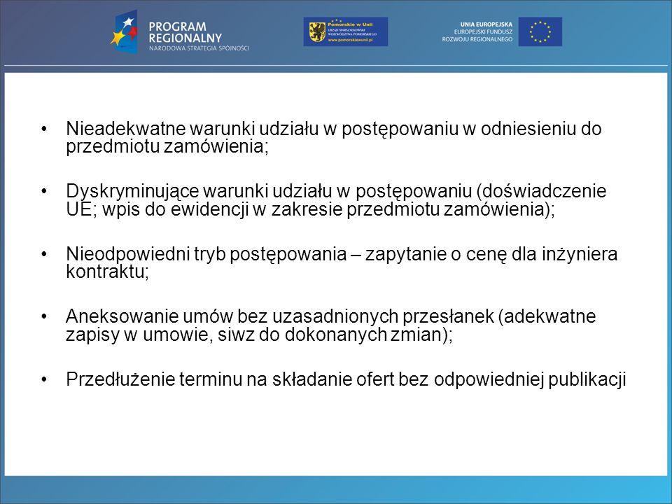 Nieadekwatne warunki udziału w postępowaniu w odniesieniu do przedmiotu zamówienia; Dyskryminujące warunki udziału w postępowaniu (doświadczenie UE; w