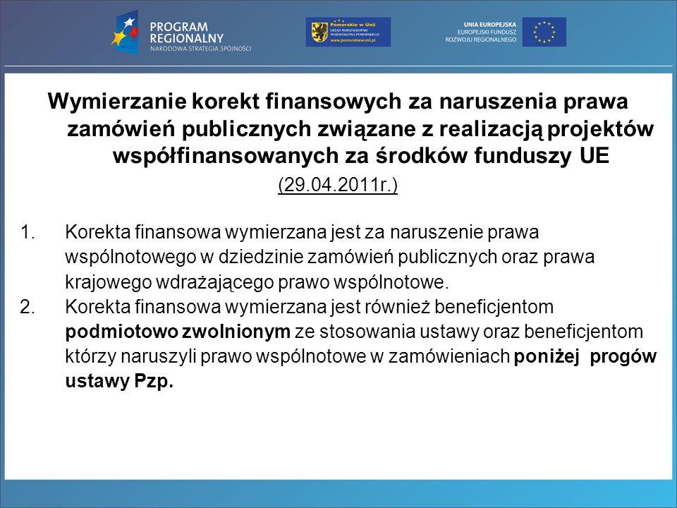 Wymierzanie korekt finansowych za naruszenia prawa zamówień publicznych związane z realizacją projektów współfinansowanych za środków funduszy UE (29.