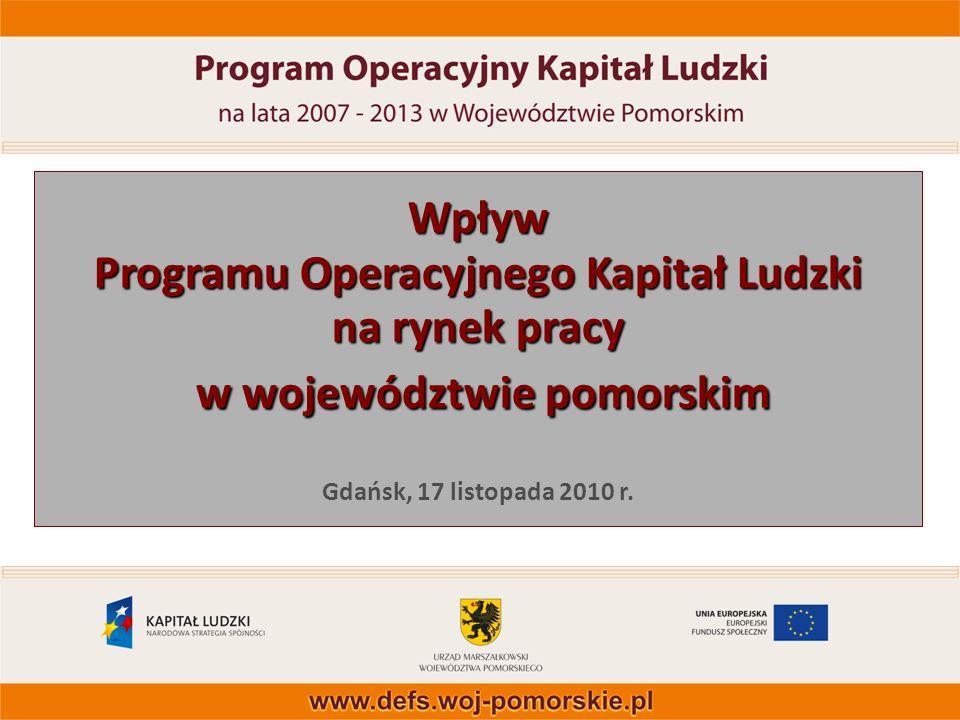 1 Wpływ Programu Operacyjnego Kapitał Ludzki na rynek pracy w województwie pomorskim Wpływ Programu Operacyjnego Kapitał Ludzki na rynek pracy w wojew
