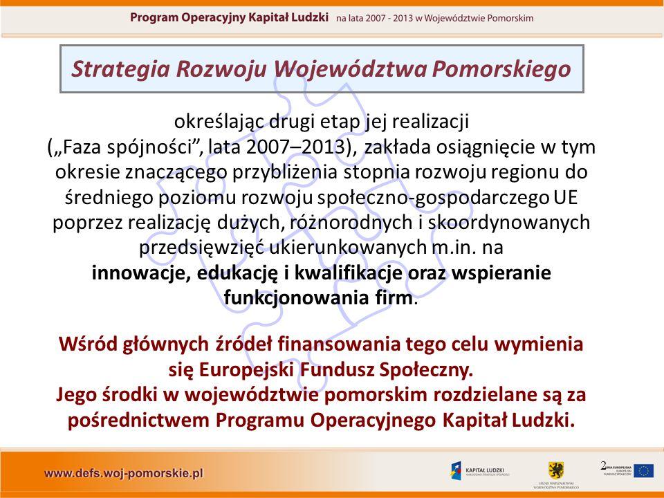 2 Strategia Rozwoju Województwa Pomorskiego określając drugi etap jej realizacji (Faza spójności, lata 2007–2013), zakłada osiągnięcie w tym okresie z