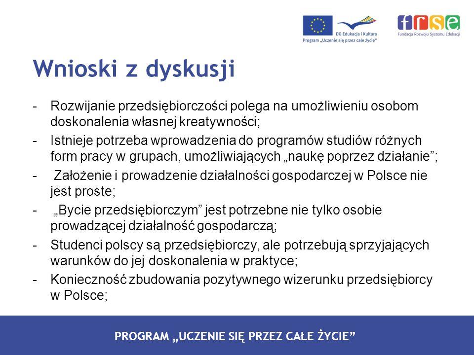 PROGRAM LEONARDO DA VINCI PROGRAM UCZENIE SIĘ PRZEZ CAŁE ŻYCIE -Rozwijanie przedsiębiorczości polega na umożliwieniu osobom doskonalenia własnej kreatywności; -Istnieje potrzeba wprowadzenia do programów studiów różnych form pracy w grupach, umożliwiających naukę poprzez działanie; - Założenie i prowadzenie działalności gospodarczej w Polsce nie jest proste; - Bycie przedsiębiorczym jest potrzebne nie tylko osobie prowadzącej działalność gospodarczą; -Studenci polscy są przedsiębiorczy, ale potrzebują sprzyjających warunków do jej doskonalenia w praktyce; -Konieczność zbudowania pozytywnego wizerunku przedsiębiorcy w Polsce; Wnioski z dyskusji
