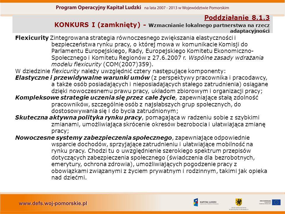 Poddziałanie 8.1.3 KONKURS I (zamknięty) - Wzmacnianie lokalnego partnerstwa na rzecz adaptacyjności Flexicurity Zintegrowana strategia równoczesnego zwiększania elastyczności i bezpieczeństwa rynku pracy, o której mowa w komunikacie Komisji do Parlamentu Europejskiego, Rady, Europejskiego Komitetu Ekonomiczno- Społecznego i Komitetu Regionów z 27.6.2007 r.