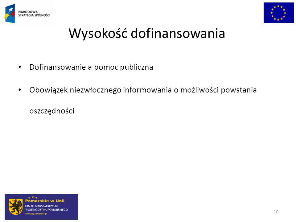 Wysokość dofinansowania Dofinansowanie a pomoc publiczna Obowiązek niezwłocznego informowania o możliwości powstania oszczędności 10