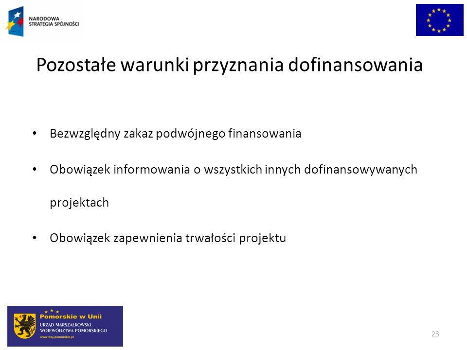 Pozostałe warunki przyznania dofinansowania Bezwzględny zakaz podwójnego finansowania Obowiązek informowania o wszystkich innych dofinansowywanych pro