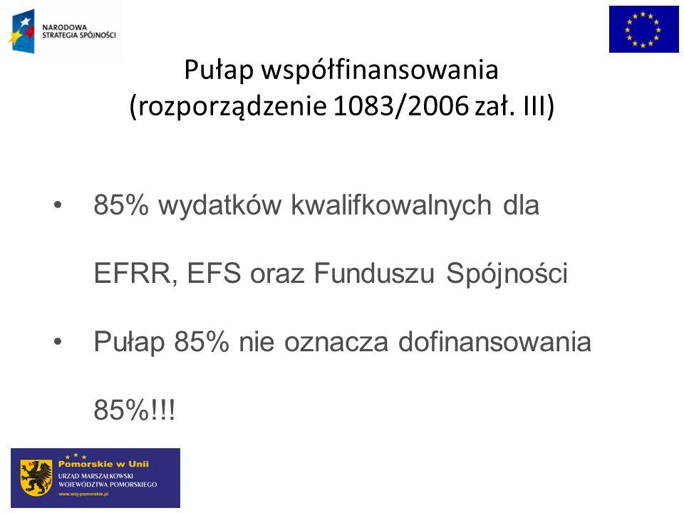 Pułap współfinansowania (rozporządzenie 1083/2006 zał. III) 85% wydatków kwalifkowalnych dla EFRR, EFS oraz Funduszu Spójności Pułap 85% nie oznacza d